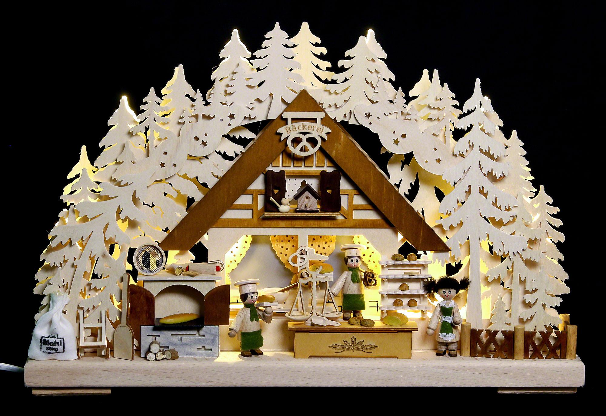 3d schwibbogen weihnachtsbackstube 44x29x7cm von. Black Bedroom Furniture Sets. Home Design Ideas