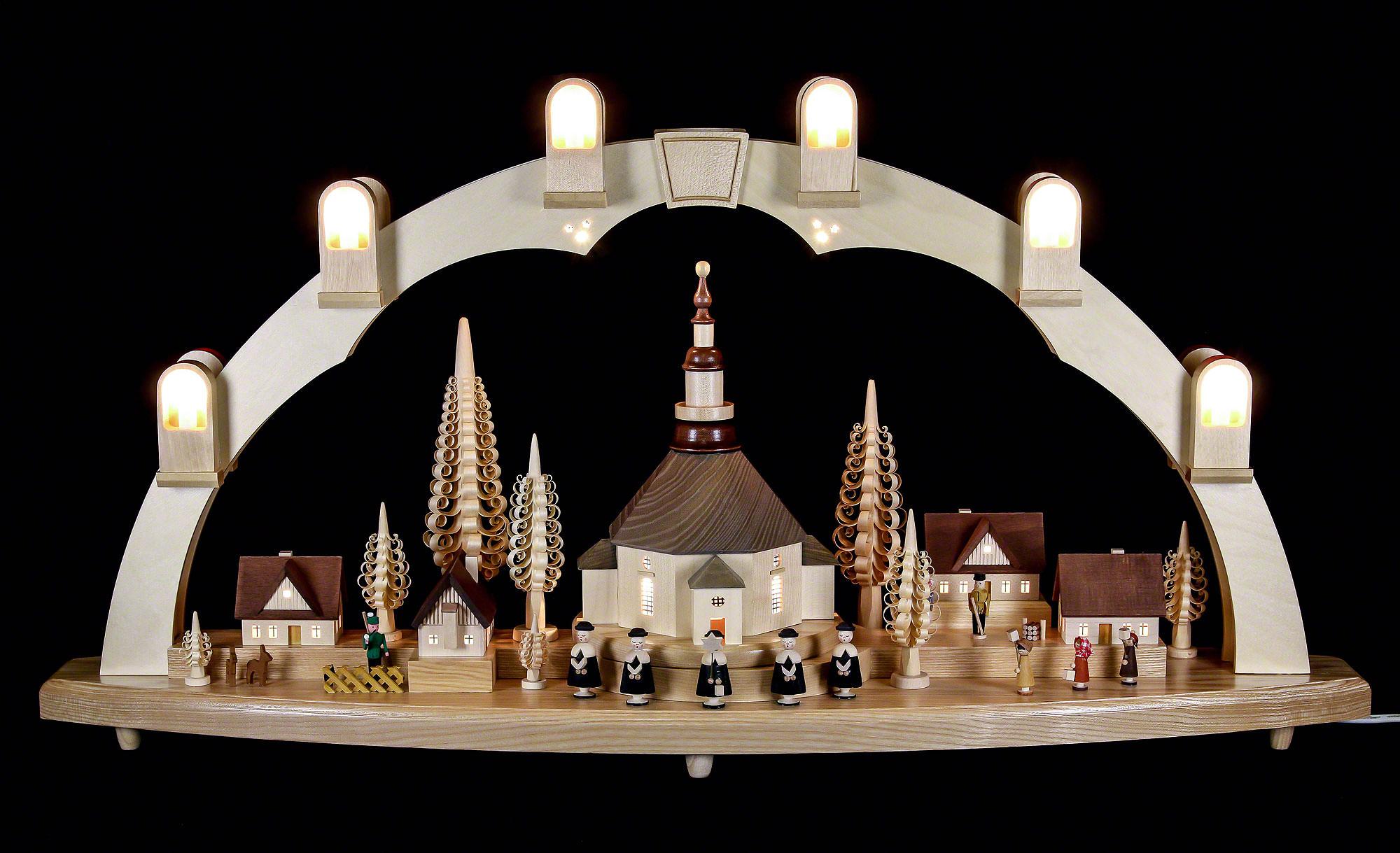 schwibbogen seiffener kirche mit dorf 80x41cm von richard gl sser. Black Bedroom Furniture Sets. Home Design Ideas