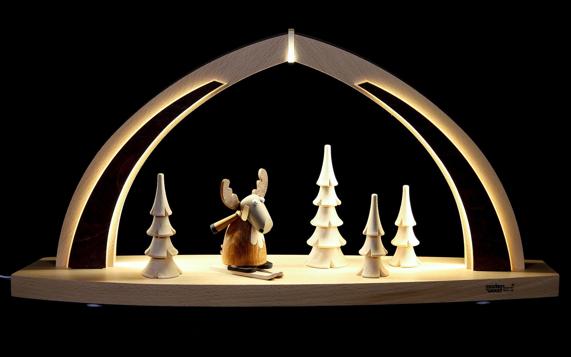 schwibbogen modern wood led bogen klein elch 41x20x9 5cm von tietze. Black Bedroom Furniture Sets. Home Design Ideas