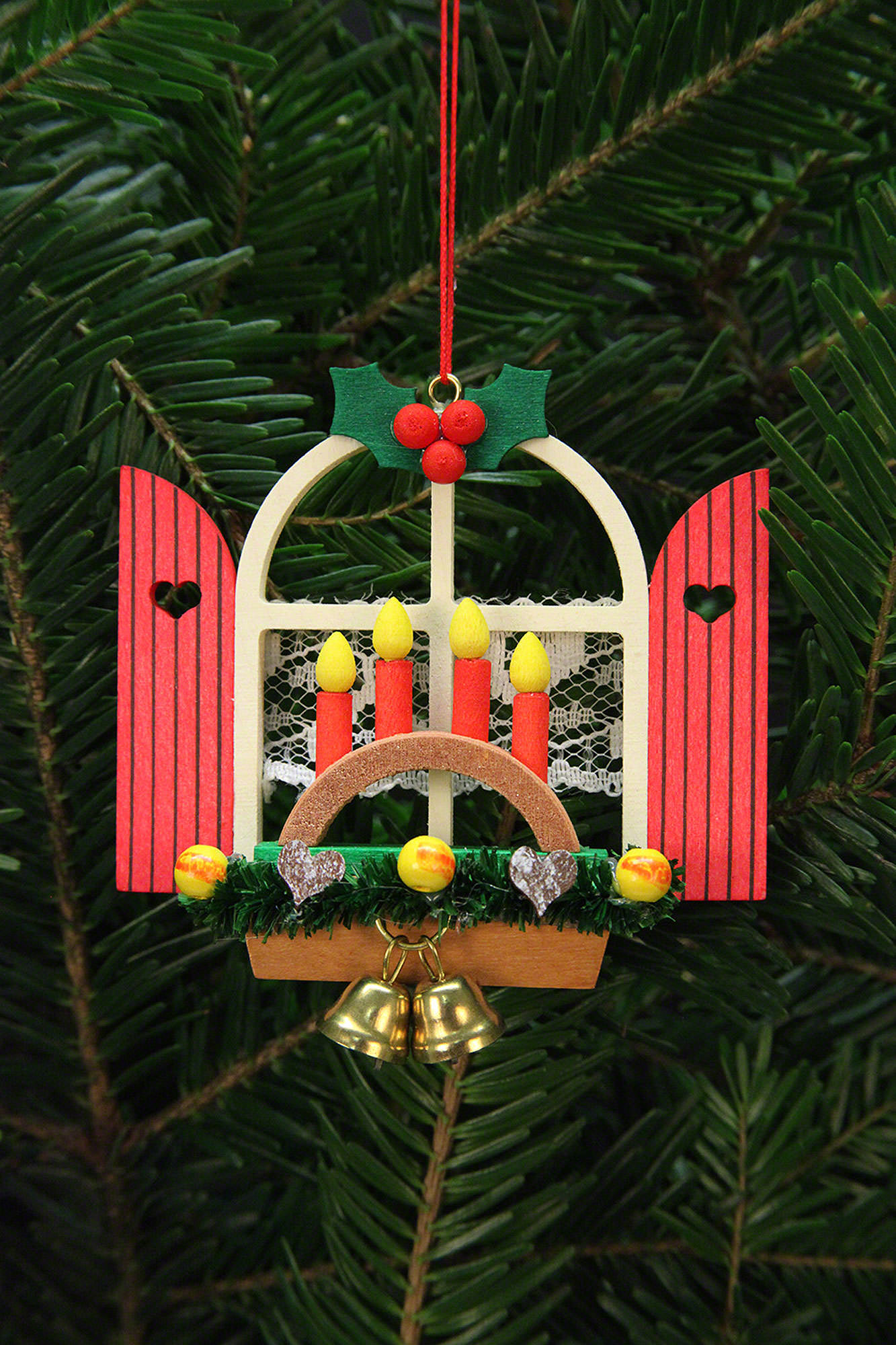 Tree ornaments advent window with candle arch 7 6x7cm for Arch candle christmas decoration